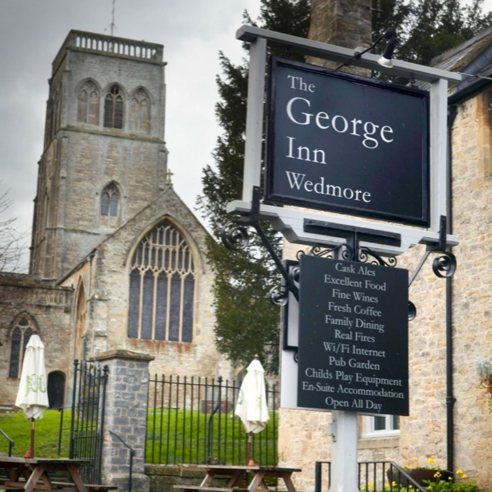 George Inn Pub - Sign and Church